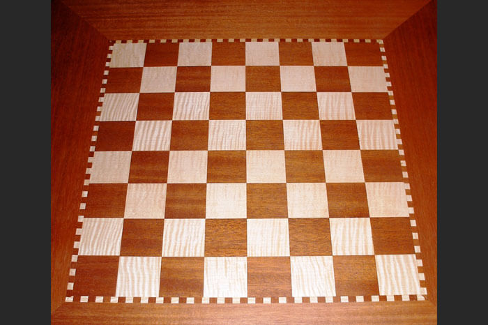 Mahogany and Maple Figured Maple Chess Table